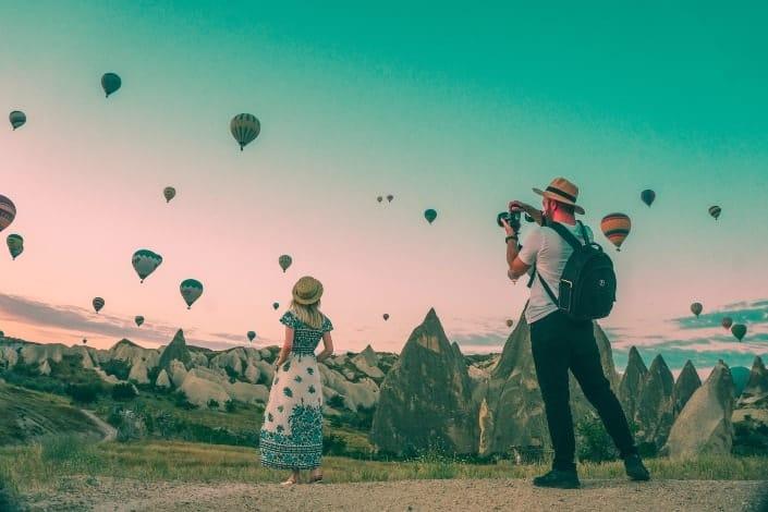 Couple attending hot air balloon festival