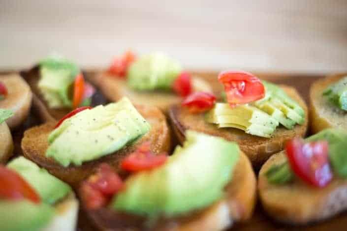 Healthy canape with avocado and tomato