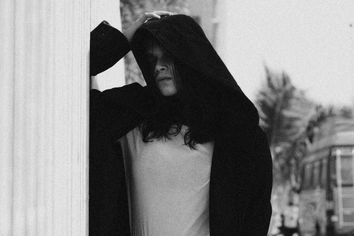 Girl in solemn mood