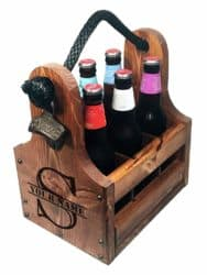 wooden beer bottle caddy