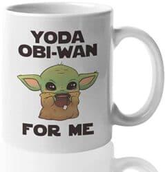 Yoda Obi-Wan For Me printed on a white mug