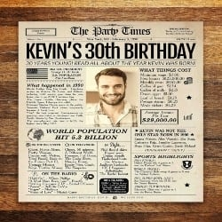 Anniversary Gifts for Boyfriends that can be Birthday gifts - 30th Birthday Newspaper Poster Sign (1)