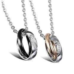 Best Anniversary Gifts for boyfriend - Sweatheart Stainless Steel His & Hers Rings Heart Couple Necklace (1)