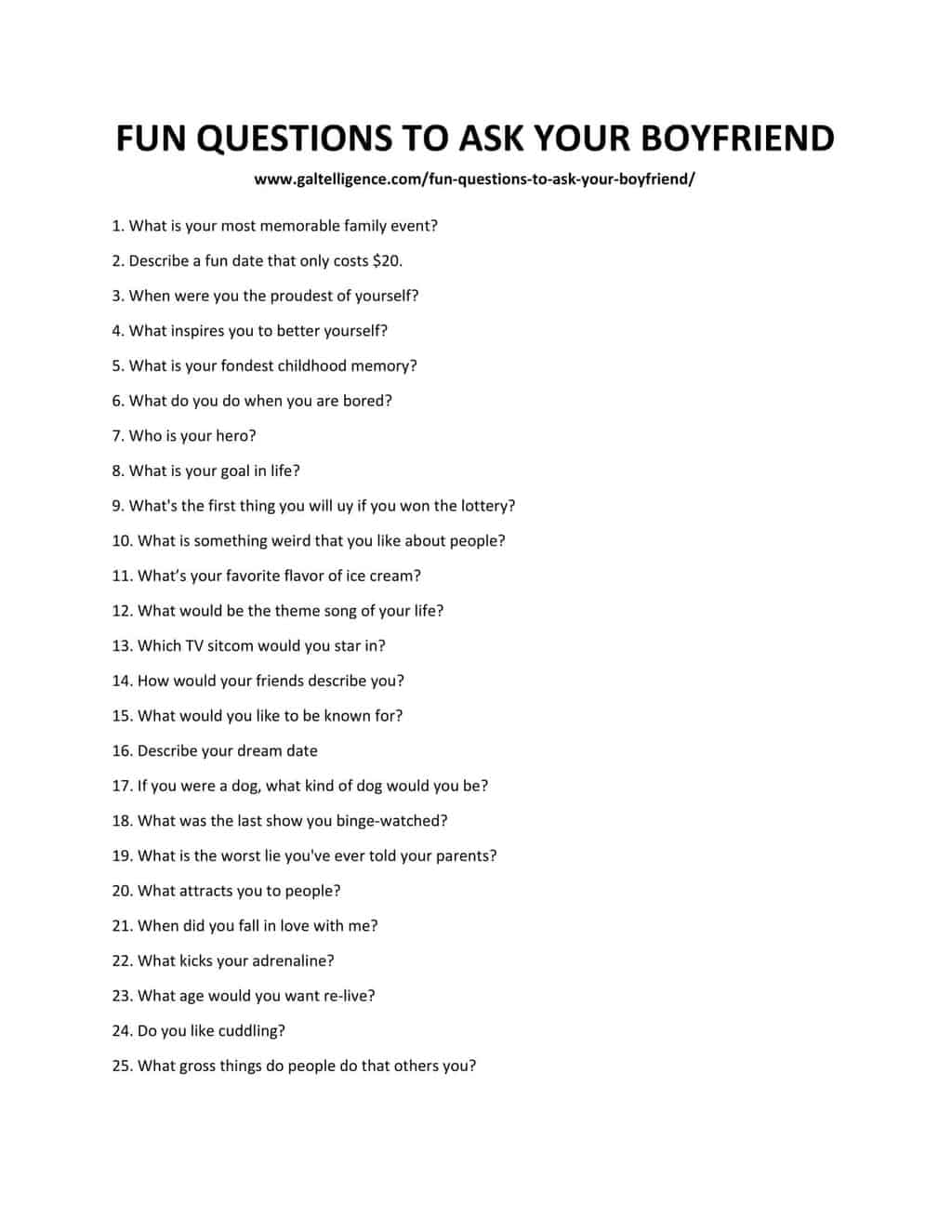 List of Fun Questions to ask your Boyfriend