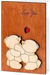 valentine's day gifts for boyfriend - Handmade Real Wood Love You Teddy Bears Valentines Day Greeting Card
