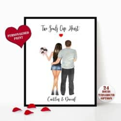 valentine's day gifts for boyfriend - Personalized Illustration Print