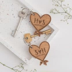 valentine's day gifts for boyfriend - Wooden Heart Keychains - Couples Initial Keyring set