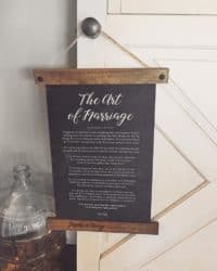 Best unique bridal shower gifts - The Art of Marriage Poem + Personalized Frame