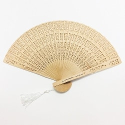 Personalized Bridal Shower favors - Intricately-Carved Sandalwood Fans (1)