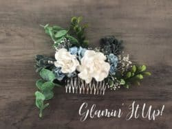 Unique Bridemaids Gifts - Dusty Blue and White Flower Hair Comb with Greenery