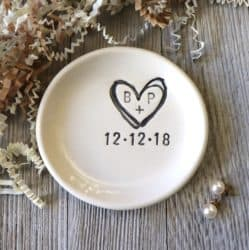 personalize white dish ring holder