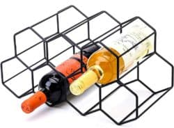 Black Metal Wine Rack with 2 bottles of wine