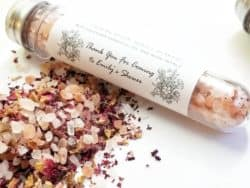 Himalayan salts on a glass tube with cork
