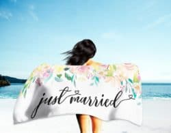 cheap bridal shower gifts - Just Married Beach Towel