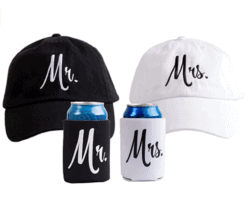 Matching Newlywed Wedding Baseball Caps and Beer Holder