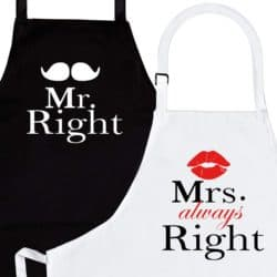 Mr. Right and Mrs. Always Right 2-Piece Kitchen Apron Set