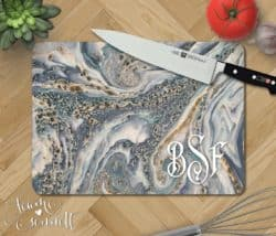 Ocean Marble Personalized Glass Cutting Board
