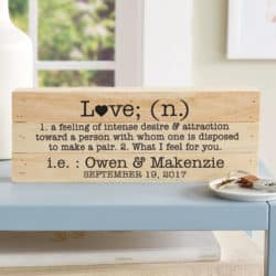 cheap bridal shower gifts - Personalized Love Definition Mini Wood Pallet