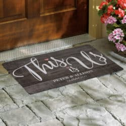 black Personalized This is Us Wedding Doormat on a door step