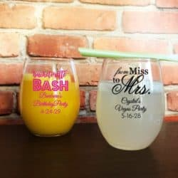 2Custom Personalized Bridal Shower Bachelorette Design Stemless Wine Glass Favors