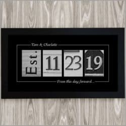 black and white Wedding Date Sign