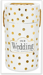 white and gold polka dotted Wedding Time Capsule
