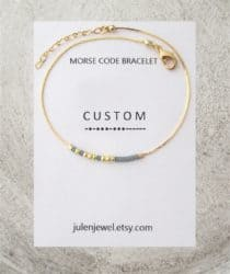cheap personalized bridal shower gifts - Thin Morse Code bracelet