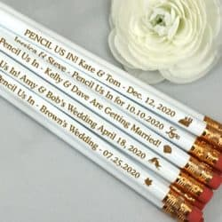 personalized bridal shower favors - Engraved Personalized White Pencils