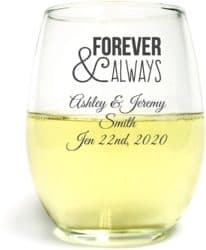 personalized bridal shower favors - Forever and Always 9 Oz Toasting Glasses