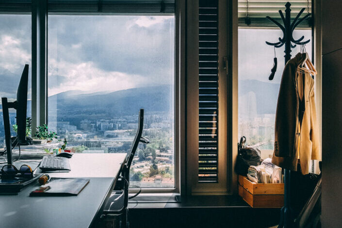 Room with a beautiful view through the window.