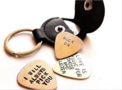 Custom Guitar Pick Holder Leather Key Chain