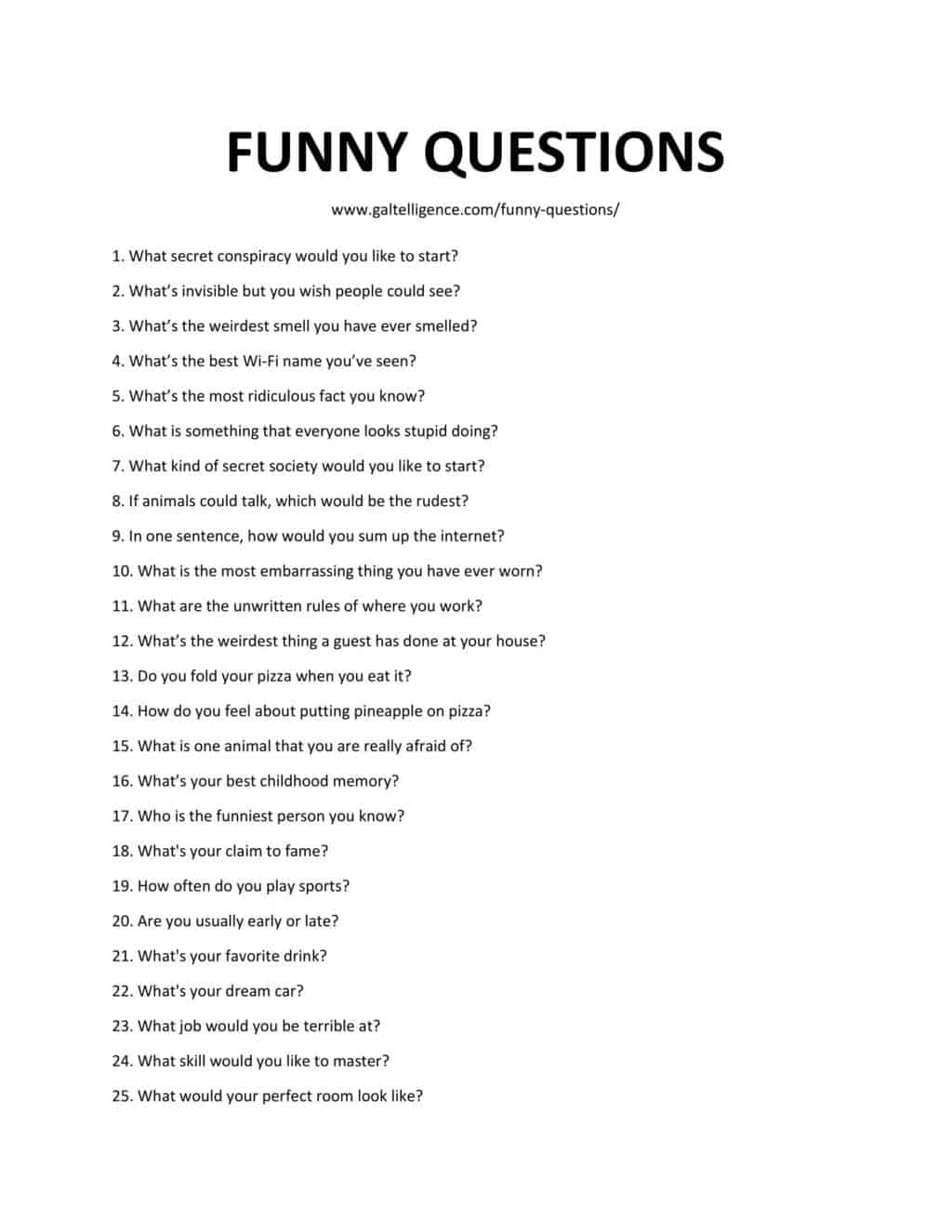 Downloadable list of Funny Questions