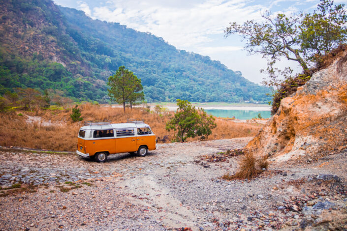 A vintage mini bus in the middle of nowhere.
