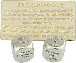 20th anniversary gifts for husband - Metal Date Night Dice