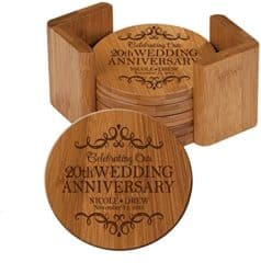 20th anniversary gifts for husband - Personalized Bamboo Coasters