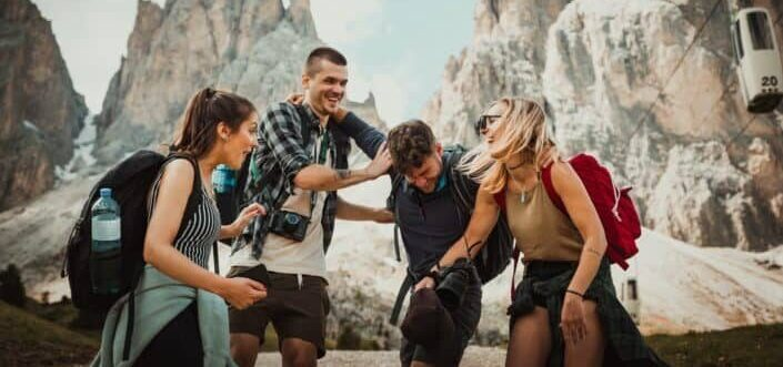 Group of traveler friends having fun together.