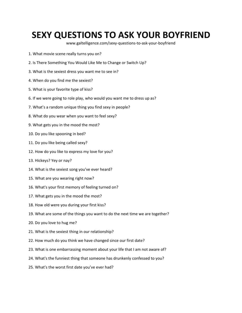 Downloadable List of Sexy Questions To Ask Your Boyfriend