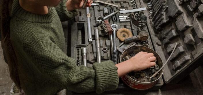 Man checking his tools