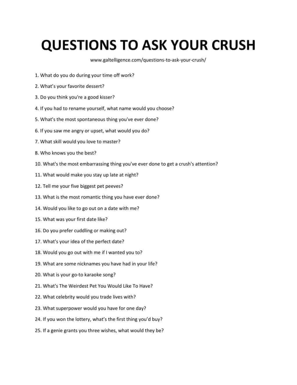 Downloadable and Printable List of Questions to Ask your Crush as JPG or PDF