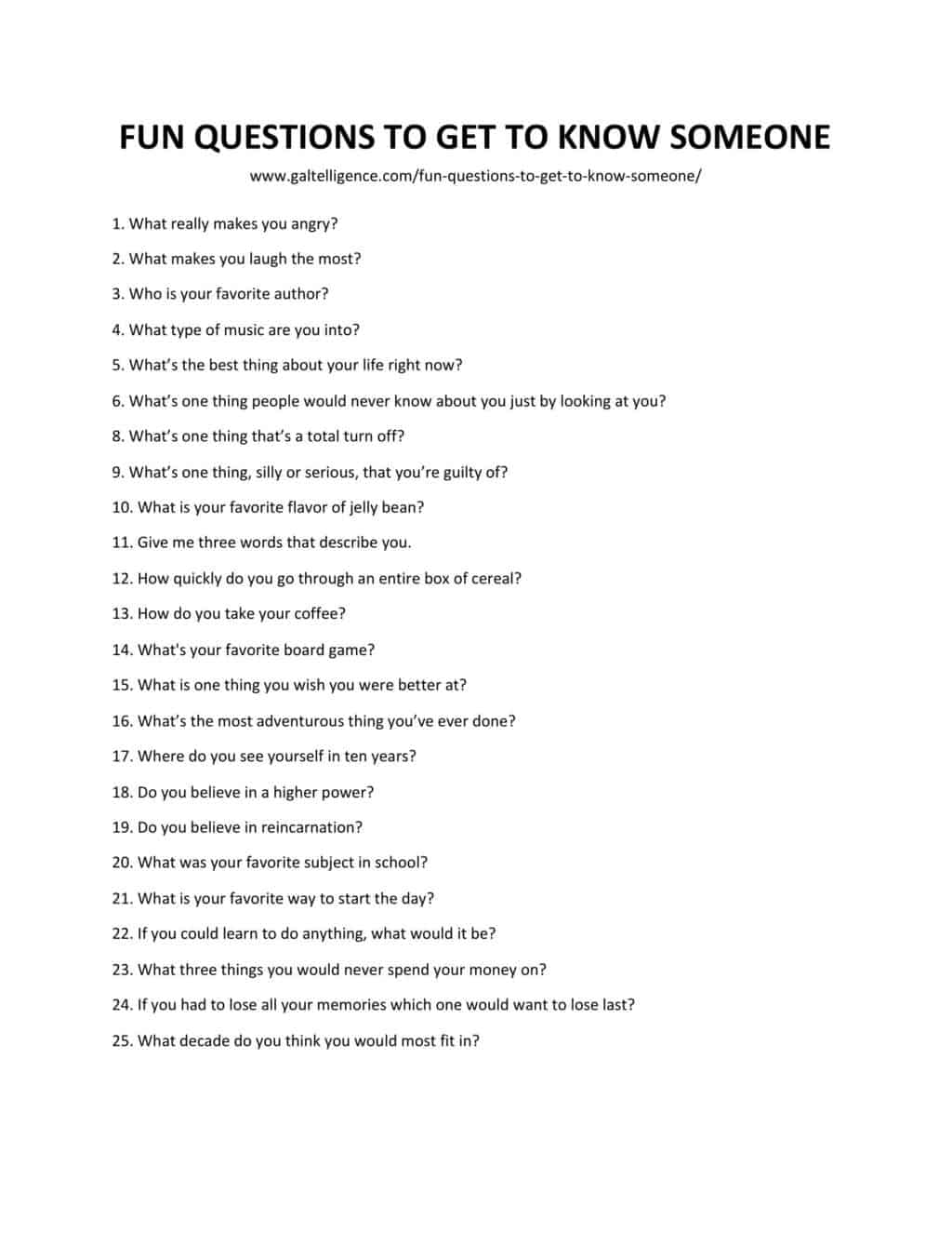 Downlodable and printable lis of fun questions to get to know someone as jpg or pdf
