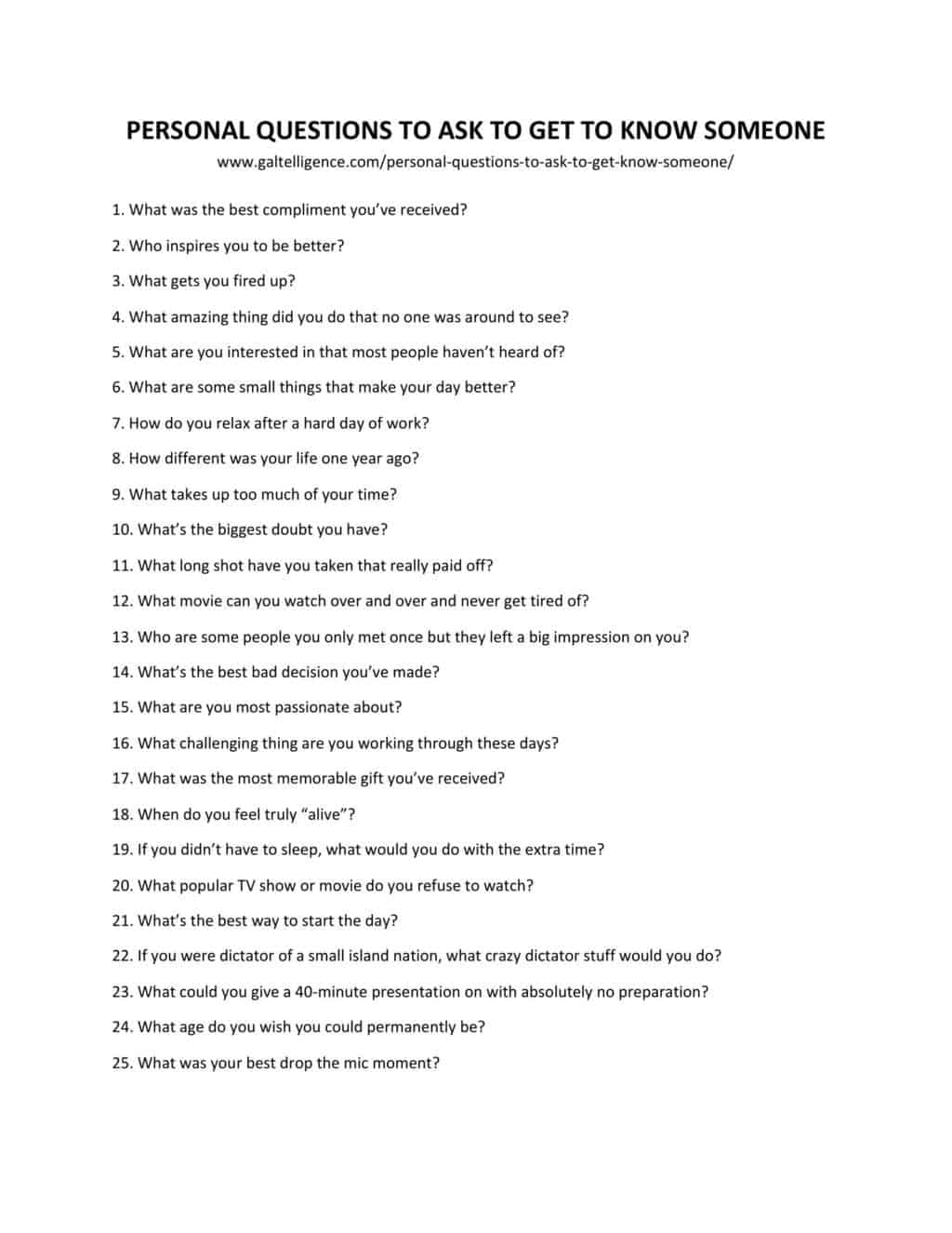 Downloadable and printable list of personal questions to ask to get to know someone