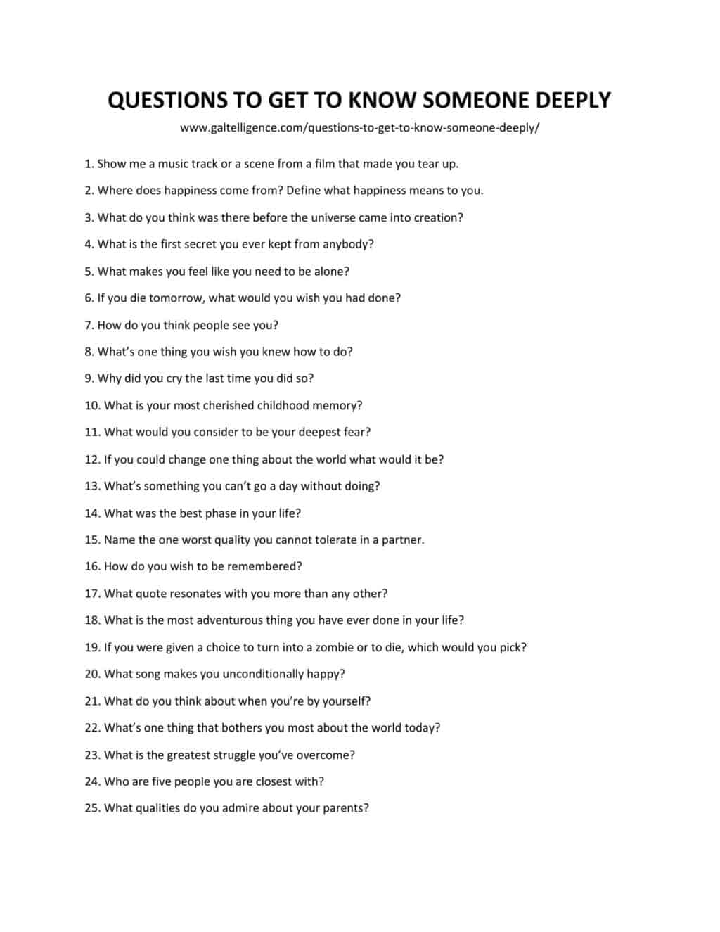 Downloadable and printable list of questions to get to know someone deeply as jpg or pdf
