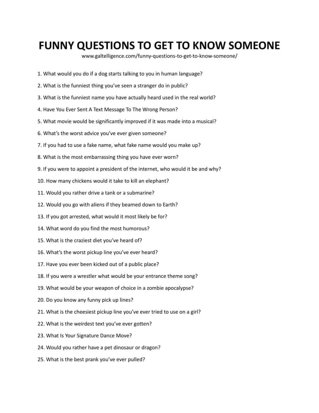 Downloadable and Printable List of Funny Questions To Get To Know Someone