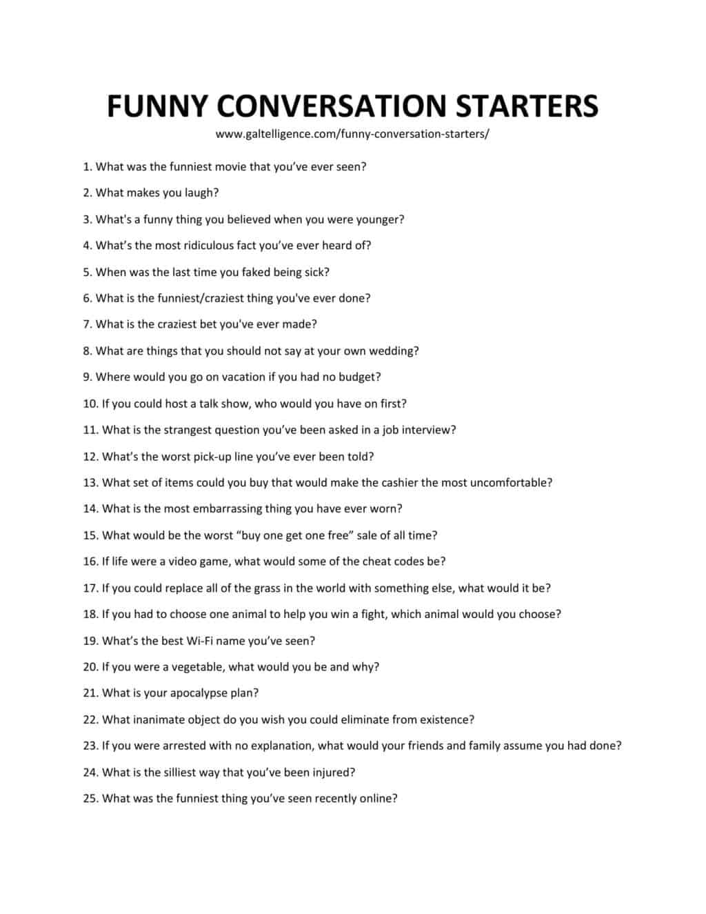 Downloadable list of conversation starters