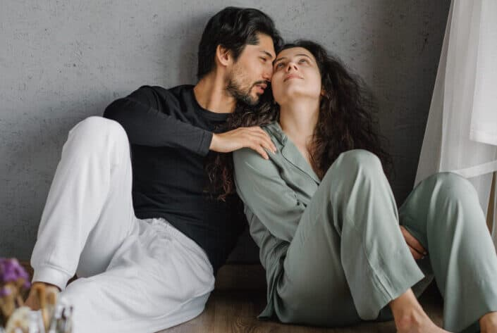 couple having an intimate yet peaceful moment
