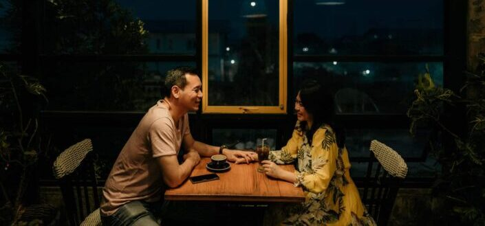 lovely couple dating on a romantic restaurant