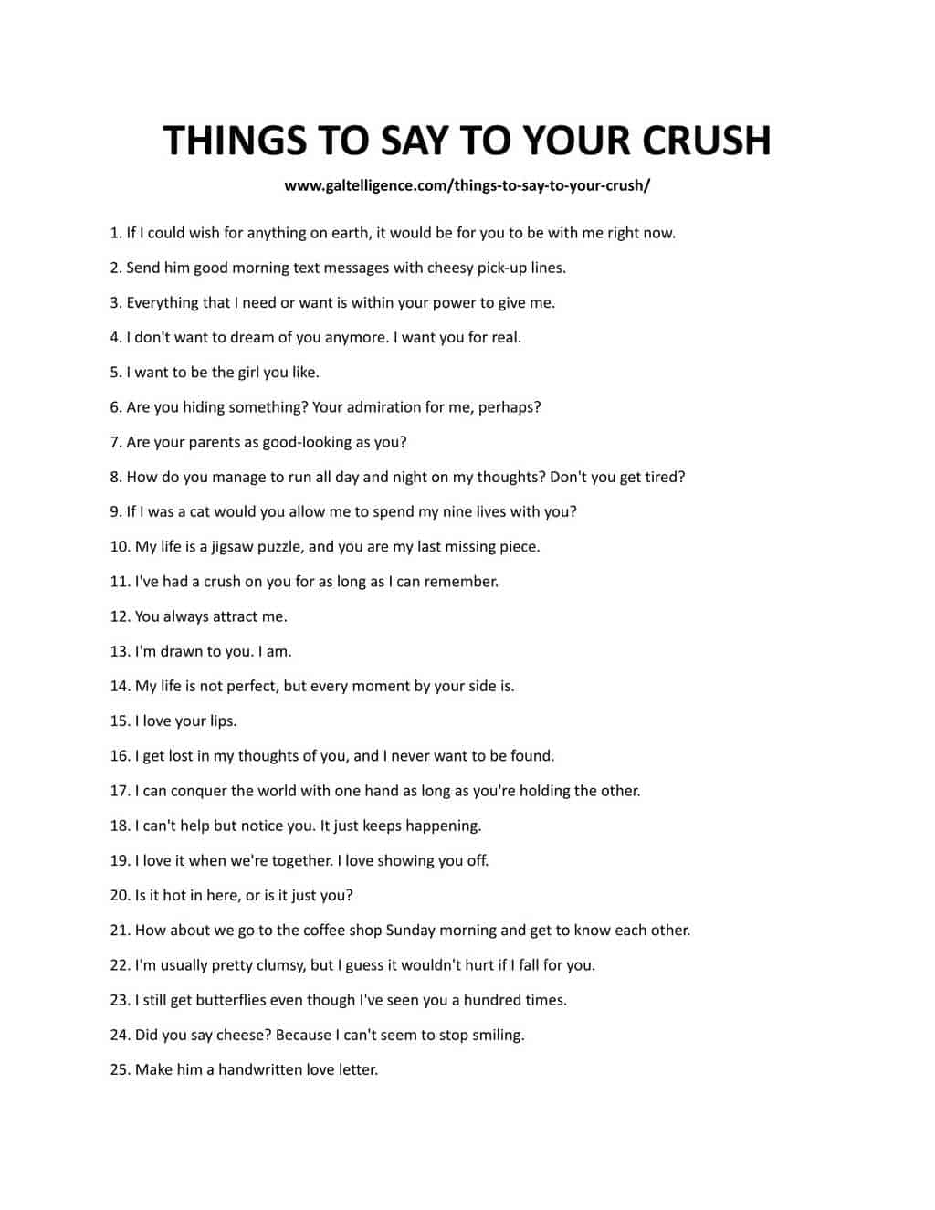 Downloadable list of things to say
